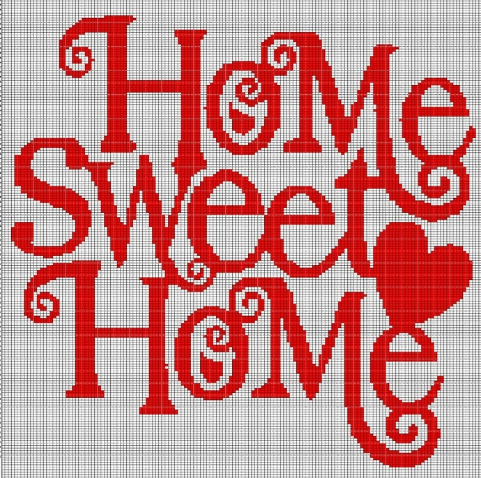 HOME SWEET HOME TEXT CROCHET AFGHAN PATTERN GRAPH
