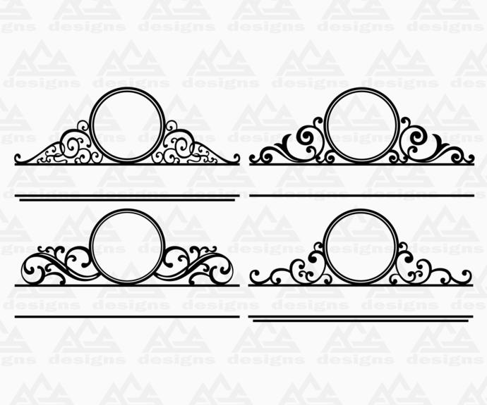 4 set Mailbox Door Monogram Frame Svg Png Dxf & Eps Designs Cameo File