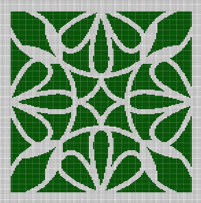 MOSS GREEN MOSAIC TAPESTRY STYLE CROCHET AFGHAN PATTERN GRAPH