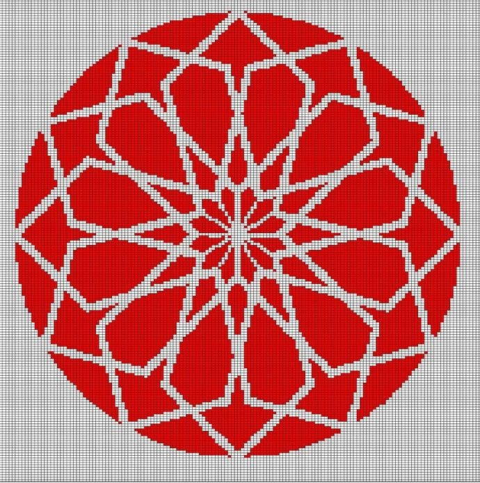 RED MOSAIC TAPESTRY STYLE CROCHET AFGHAN PATTERN GRAPH