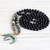 MOONLIGHT - Bead Necklace Black Agate and Cat's Eye Mala Beads 108 Knotted Mala
