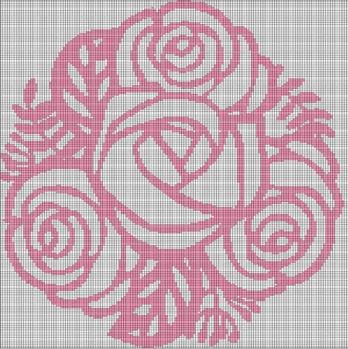 ROSE BOUQUET CROCHET AFGHAN PATTERN GRAPH