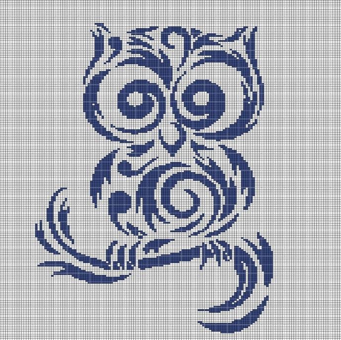 TRIBAL OWL CROCHET AFGHAN PATTERN GRAPH