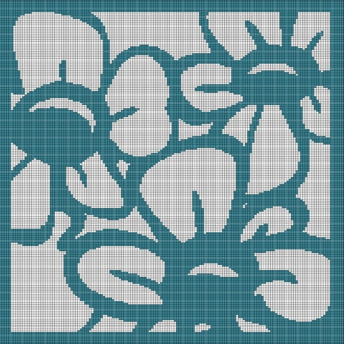 TURQUOISE FLOWERS CROCHET AFGHAN PATTERN GRAPH