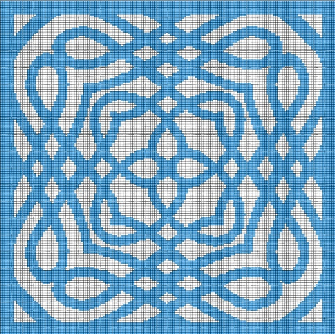 TURQUOISE MOSAIC CROCHET AFGHAN PATTERN GRAPH