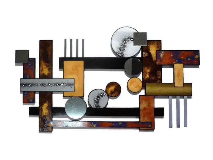 Geometric Abstract Wall Sculpture, Mixed Media wall art, Wood Metal & Mirror