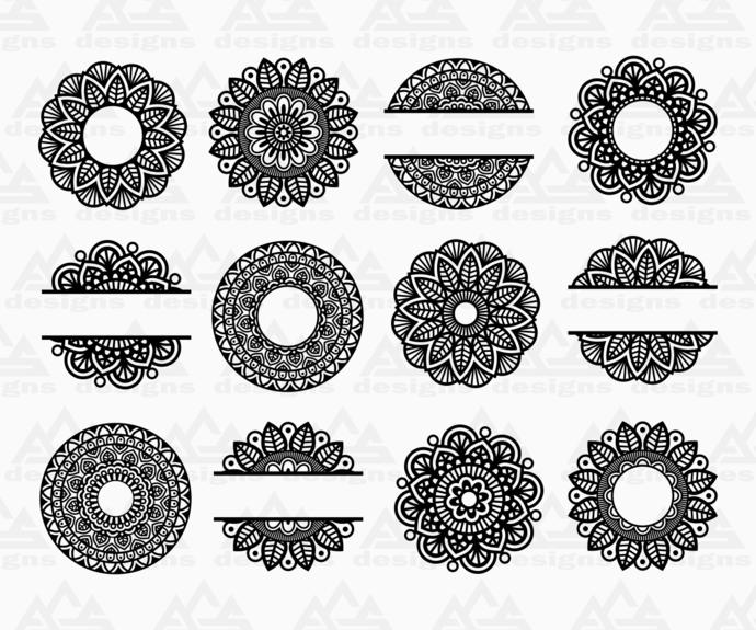 Mandala Monogram Split Frame Svg Png Dxf & Eps Designs Cameo File Silhouette