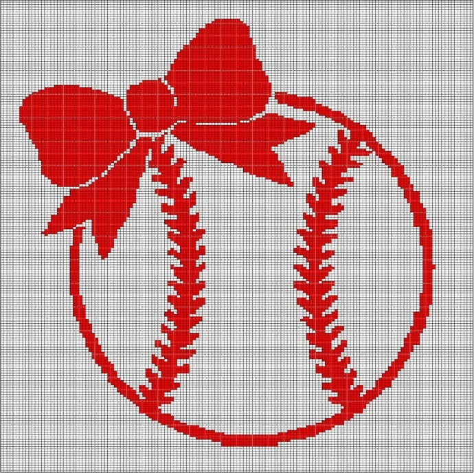 BASEBALL GIRL 2 CROCHET AFGHAN PATTERN GRAPH
