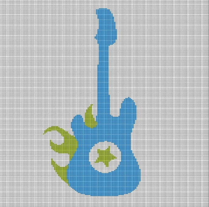 BLUE GUITAR CROCHET AFGHAN PATTERN GRAPH
