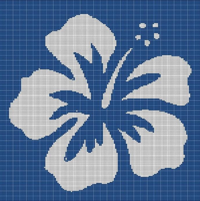 BLUE HAWAIIAN FLOWER CROCHET AFGHAN PATTERN GRAPH