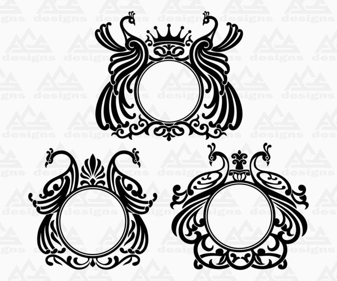 3 set Peacock Monogram frame Svg Png Dxf & Eps Designs Cameo File Silhouette