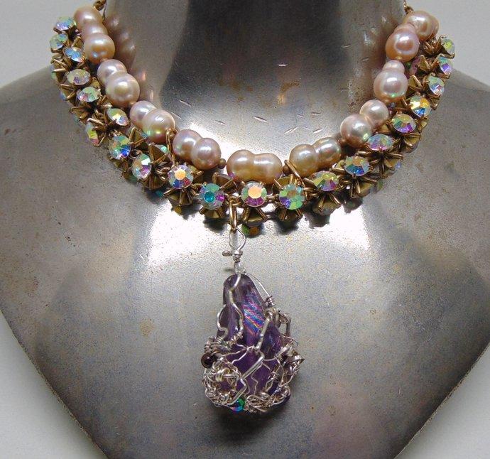 AB Czech Glass Crystal n Culured freshwater Pearl Choker w Amethyst Pendant