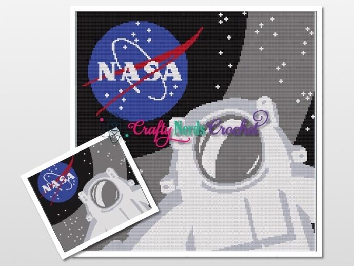 Astronaut NASA Selfie Pattern Graph With Single Crochet Written