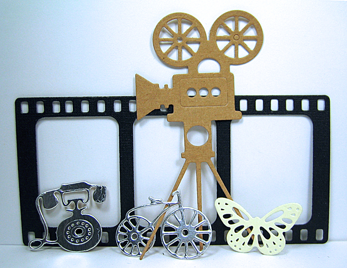 5 Pc Film Strip, Movie Projector Cutting Dies, Phone, Bike, Butterfly
