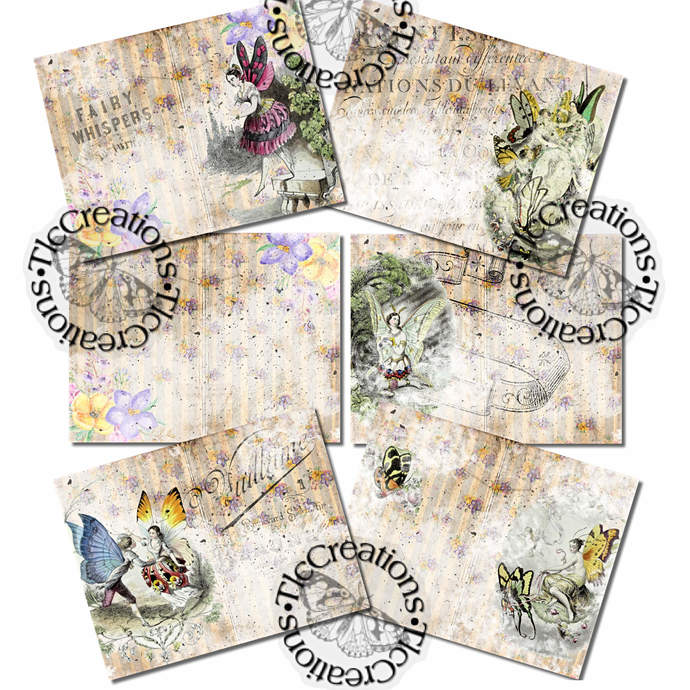 Fairies at Play Vintage Printable Papers Junk Journal Pages Scrapbooking