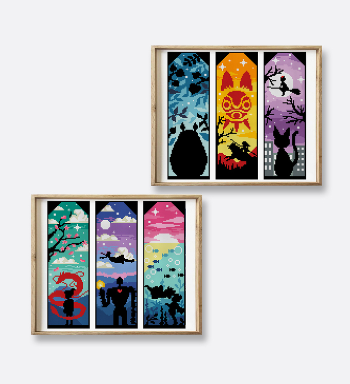 Anime bookmark set of 6 counted cross stitch pattern silhouette cat warrior sea