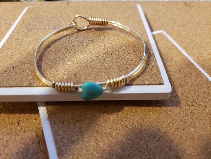 Blue turquoise heart bangle