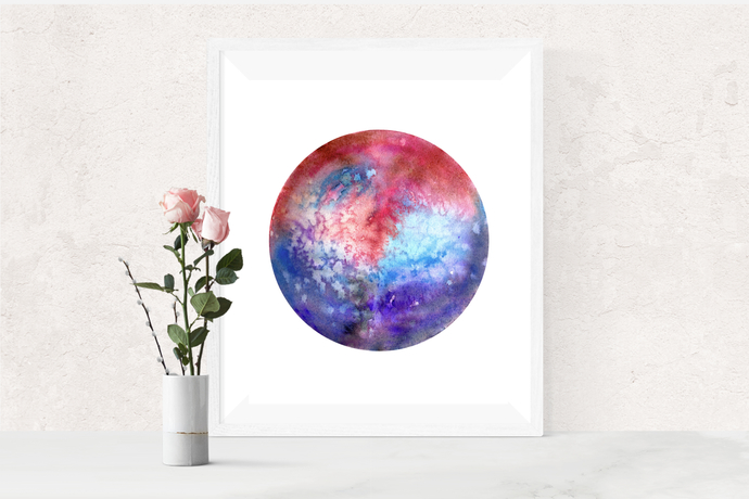 Galaxy Print, Space Print, Celestial Watercolor, Galaxy Art, Galaxy Painting,