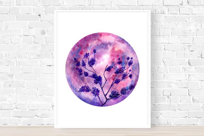 Moon Print, Celestial Print, Pink Prints, Pink Wall Art, Planet Print, Moon Art,