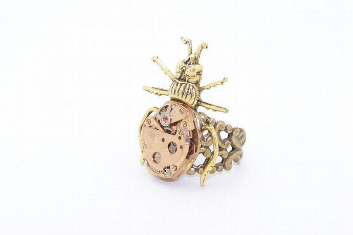 Gold Bug Steampunk Ring