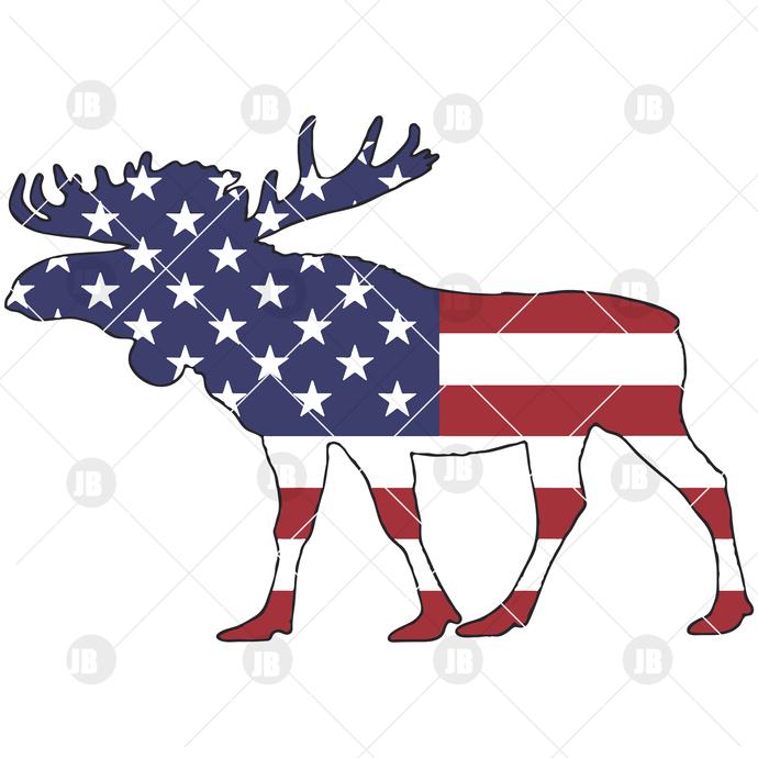 American Flag - Moose Digital Cut Files Svg, Dxf, Eps, Png, Cricut Vector,