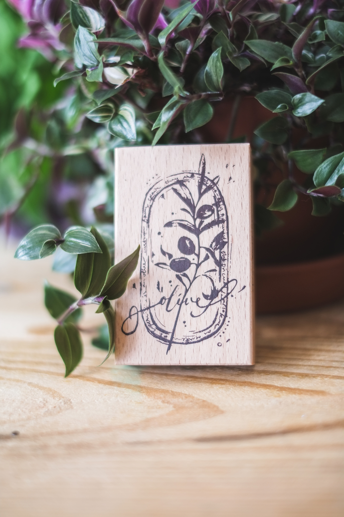 Meow Illustration wooden stamp - Olive Green