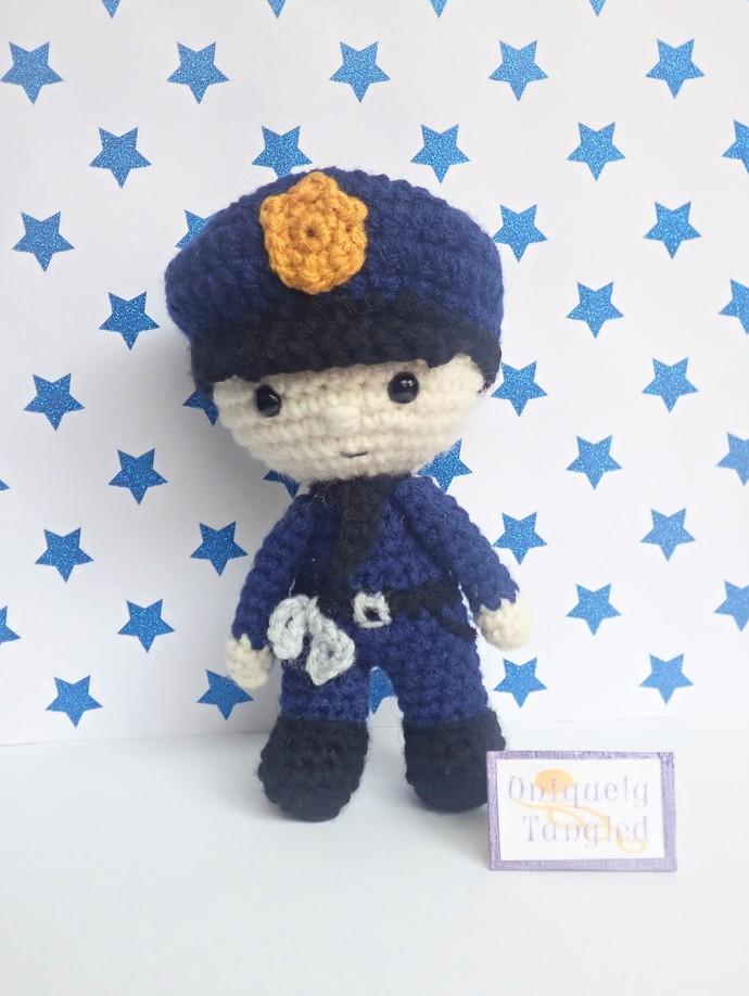 Felton in Police Costume - Crochet Amigurumi Pattern PDF
