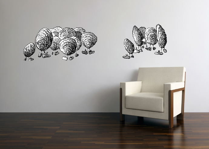 Oysters - Alice in Wonderland - Vinyl Wall Decal - Various Sizes Available
