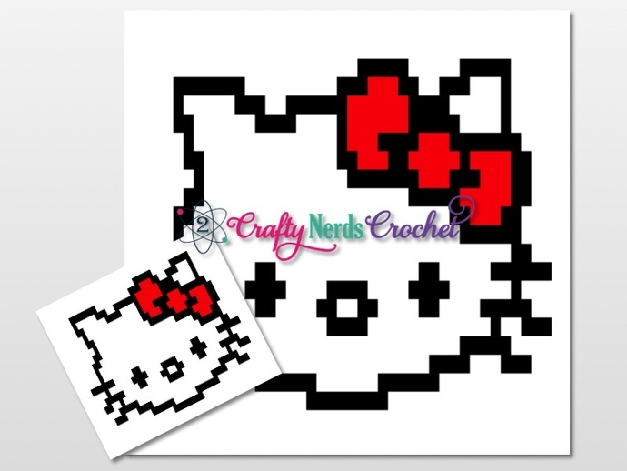 Hello Kitty Pillow Pattern Graph With Double Crochet Written