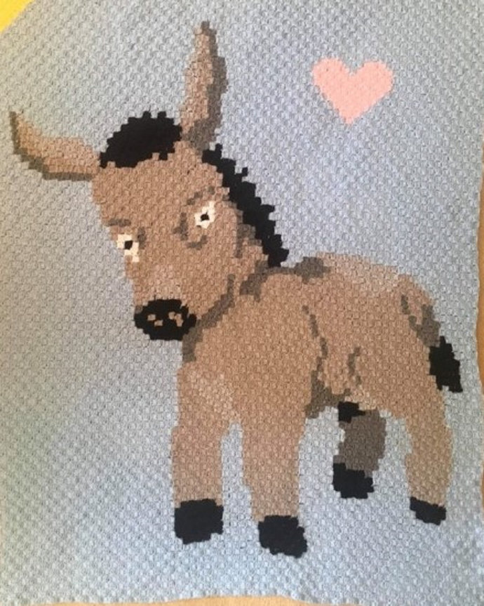 Baby Donkey Love Crochet Pattern PDF Graph and Written Color Block Instructions