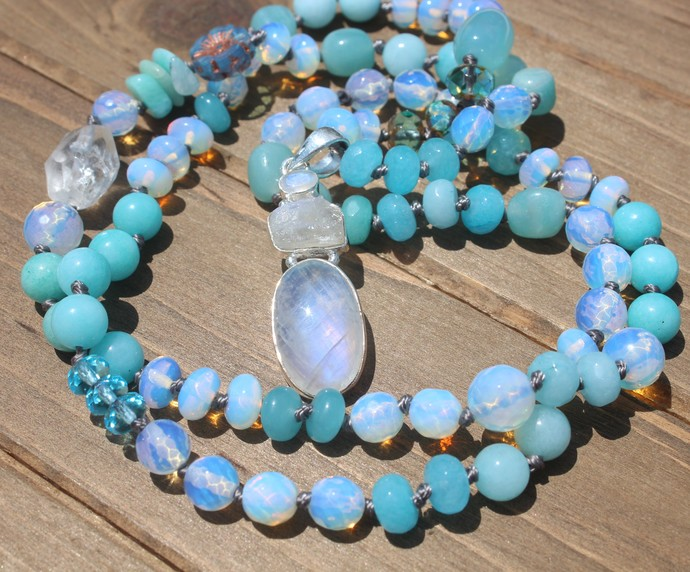 Romantic Long Blue Beaded Necklace with Moonstone Pendant Hand Knot jewelry by