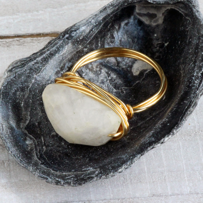 White Moonstone Gemstone  Free Style Gold Wire Wrapped Cocktail Ring Handmade