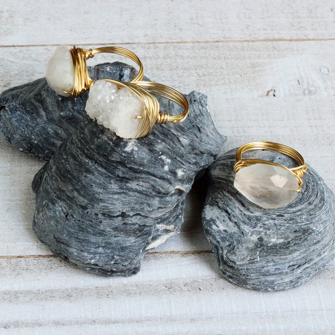 White Sparkling Druzy Quartz Gemstone Free Style Gold Wire Wrapped Cocktail Ring