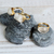 White Sparkling Druzy Quartz Gemstone Free Style Gold Wire Wrapped Cocktail Ring