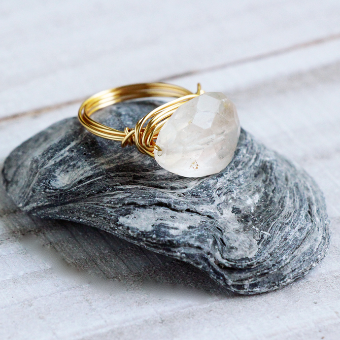 Clear Aquamarine Gemstone Free Style Gold Wire Wrapped Cocktail Ring Handmade