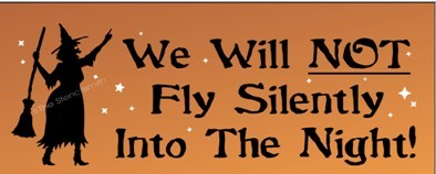 Primitive Witch sign We will NOT fly silently into the night witchcraft