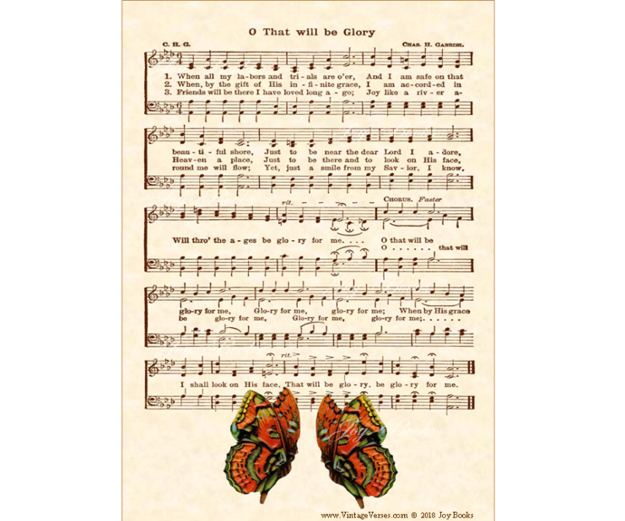 O THAT WILL BE GLORY Vintage Verses DIY Print It Yourself Sheet Music Wall Art