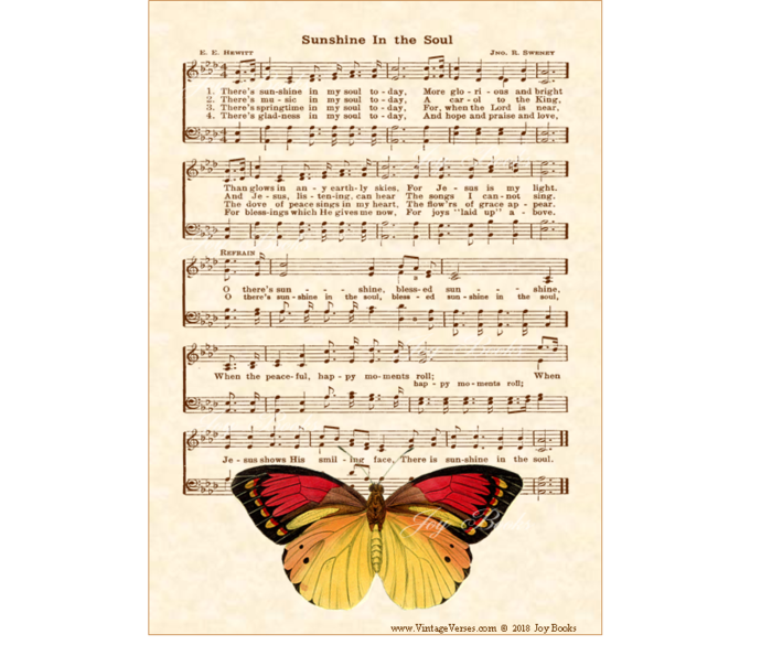 SUNSHINE IN THE SOUL Vintage Verses DIY Print It Yourself Sheet Music Wall Art