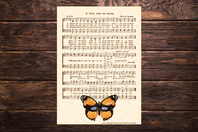 Copy of O THAT WILL BE GLORY Vintage Verses DIY Print It Yourself Sheet Music