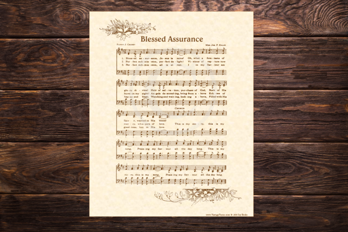 BLESSED ASSURANCE Vintage Verses DIY Print It Yourself Sheet Music Wall Art