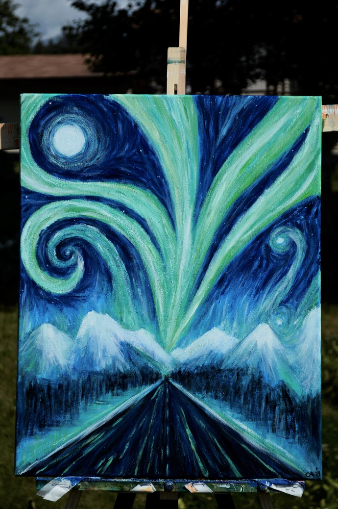 """Wonder Road"" 16 x 20 Painting of The Auroras"