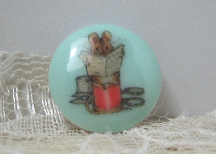 Tailor Mouse from Beatrix Potter Story, Plastic Clothing Button backmarked JHB