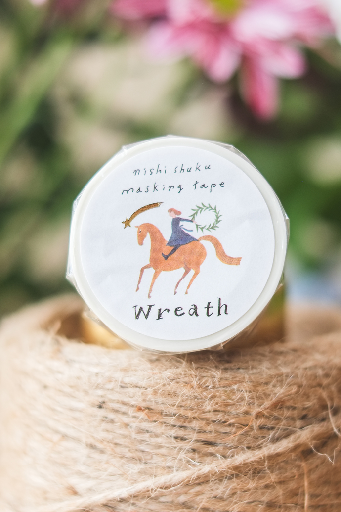 Nishi Shuku washi tape - Wreath - 2 cm wide masking tape