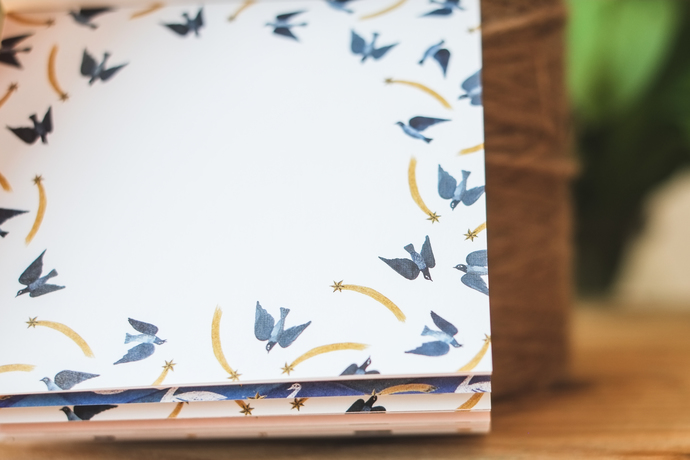 Nishi Shuku memo pad - Bird - 100 note sheets with 4 different designs