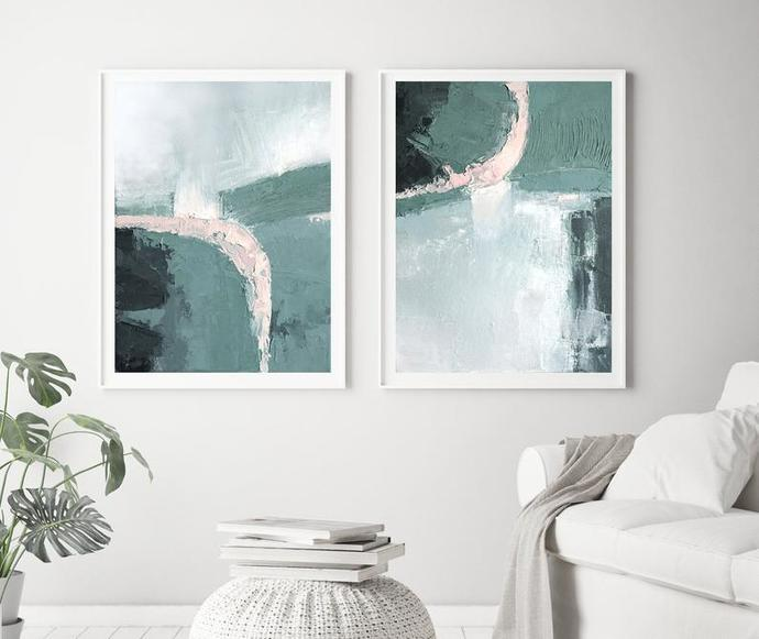 Print, contemporary art, wall art abstract, digital image, abstract set of 2