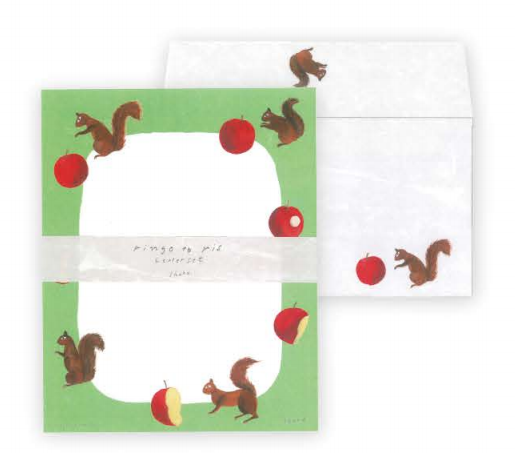 Nishi Shuku letter set - ringo to ris - 12 letter sheets with 4 envelopes