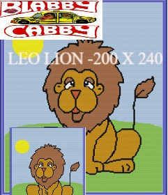LEO LION -200 X 240 - SINGLE CROCHET (AMERICAN) - GRAPH AND WRITTEN ROW BY ROW