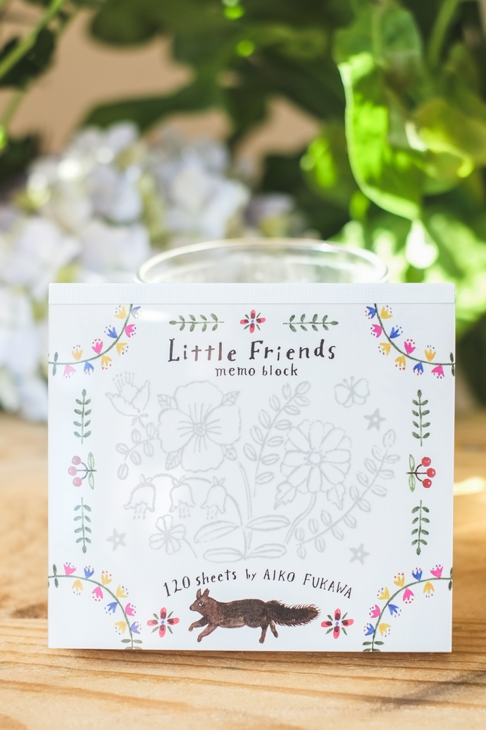 Aiko Fukawa memo pad - Little Friends - 120 note sheets with 4 different designs