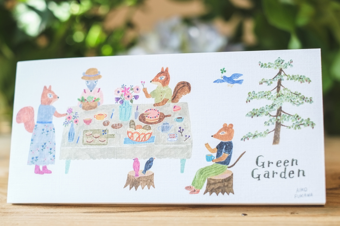 Aiko Fukawa memo pad - Green Garden - 20 note sheets with 4 different designs