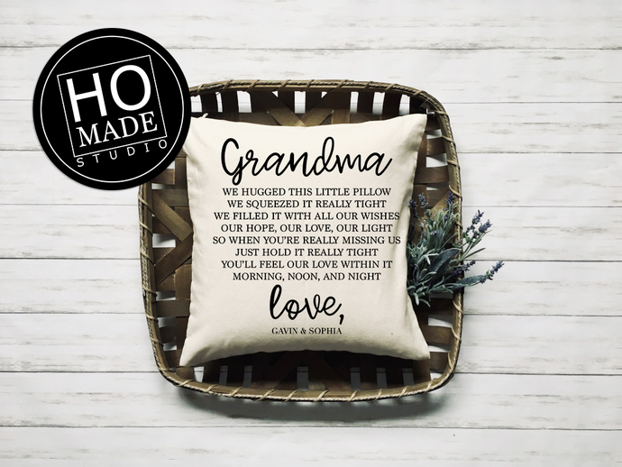 Hugs From Home Throw Pillow, Grandparent Gift, Mother's Day Gift